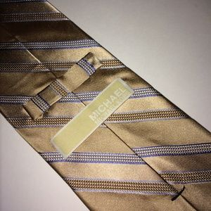 MICHAEL Michael Kors Accessories - Michael Kors Tie | Cream & Gold Stripes